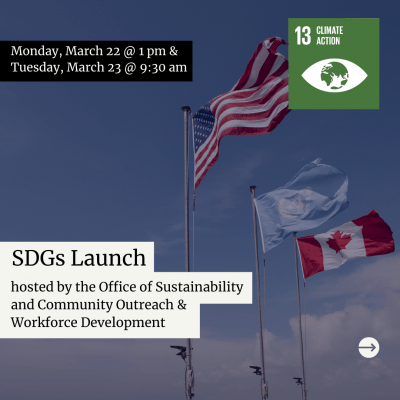 A poster announcing the SDGs launch has black text highlighted in white against a darkened picture of flags waving in the wind