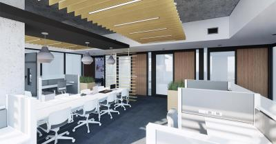 A 3D rendering shows a large room filled with computer cubicles and white furniture