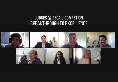 A screenshot of a Zoom meeting shows the seven judges of DECAs competition in a grid