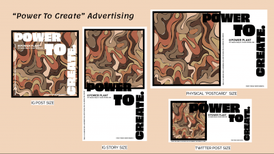 """The group's social media graphics show a dark brown and mauve motif with the words """"Power to Create"""" in black"""