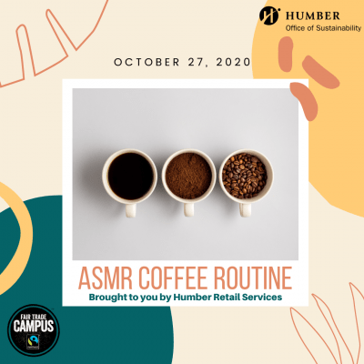 Instagram post showing an ad for the ASMR Coffee Routine. It shows three cups of coffee lined up on a table