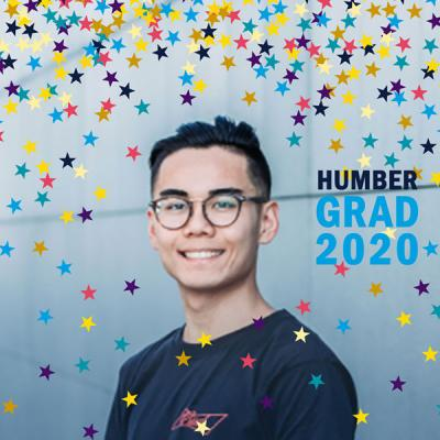 A stock image of a Humber grad with a Facebook sticker overtop, making it look like raining confetti