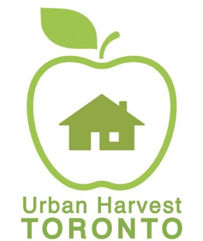 Urban Harvests logo - a house surrounded by an apple shape in green on a white background