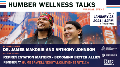 A poster for a Wellness Talk featuring Makosis and Johnson from the neck up, smiling in front of a mural