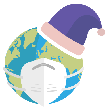 The Sustainably Snug logo - a globe wearing a safety mask and a purple night cap