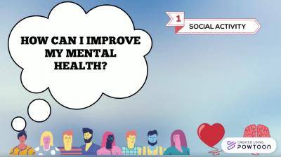 A blue slide shows a row of cartoon people and a thought bubble that says 'How do I improve my mental health?'