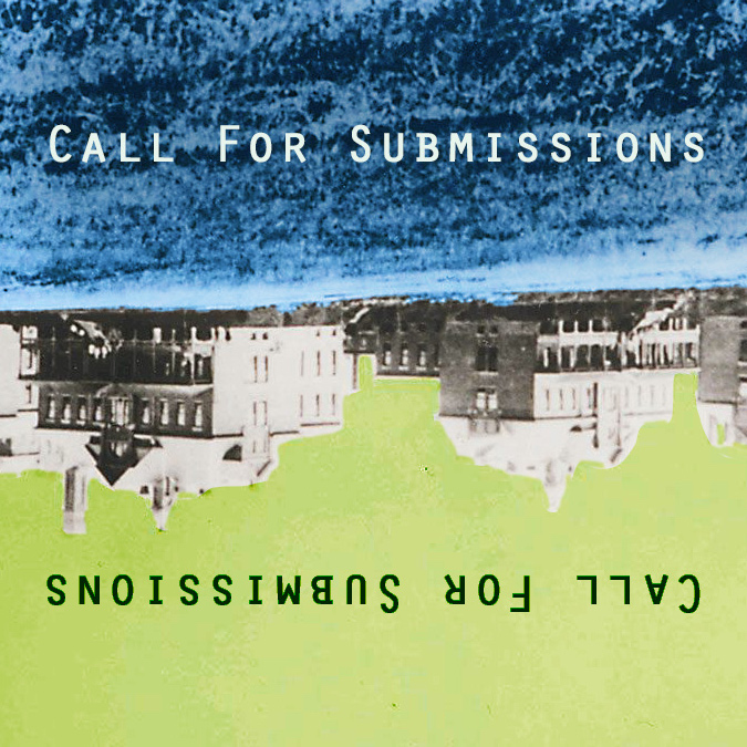 """Inversed historic image of the cottages of the former Lakeshore Psychiatric Hospital with words """"Call for Submissions"""""""