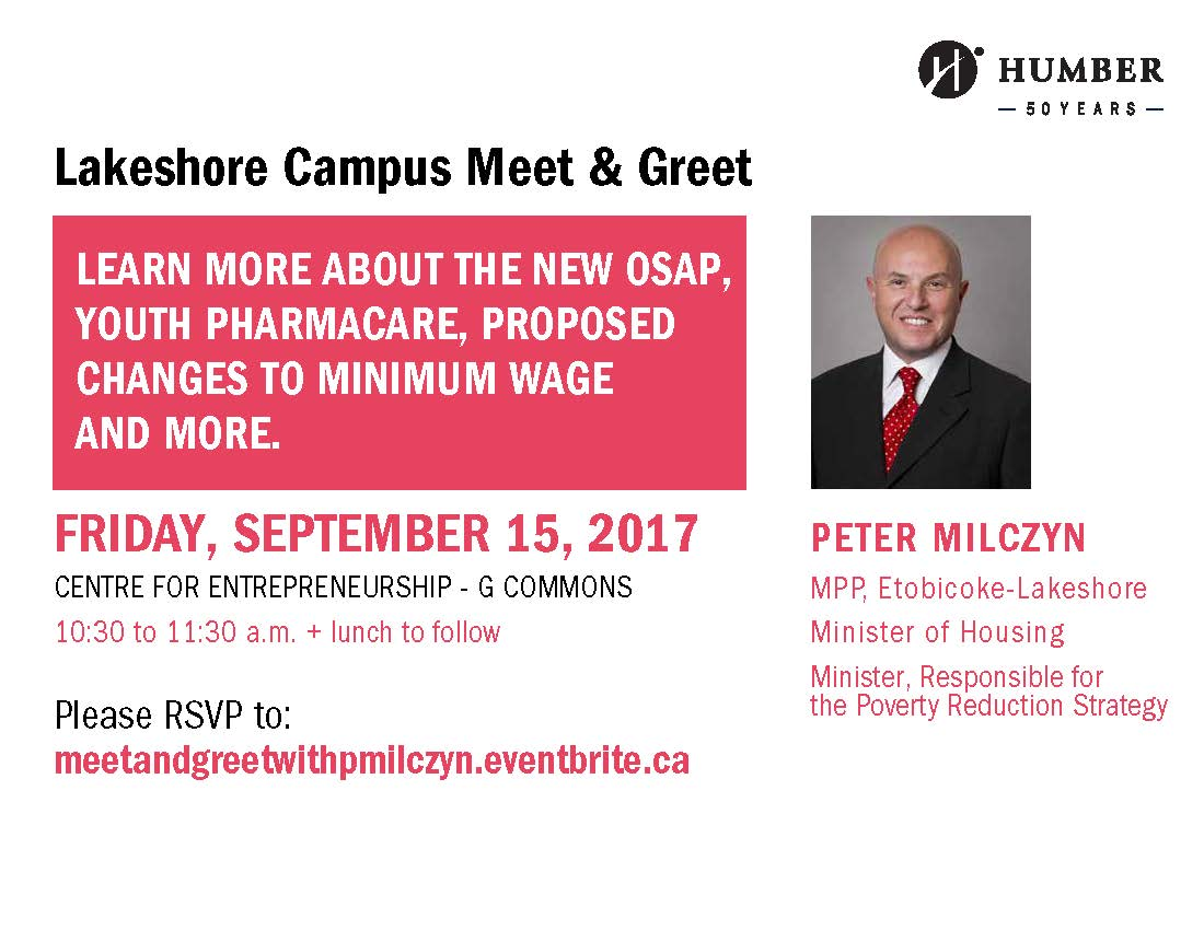 Lakeshore Campus Meet and Greet with MPP Peter Milcyzn