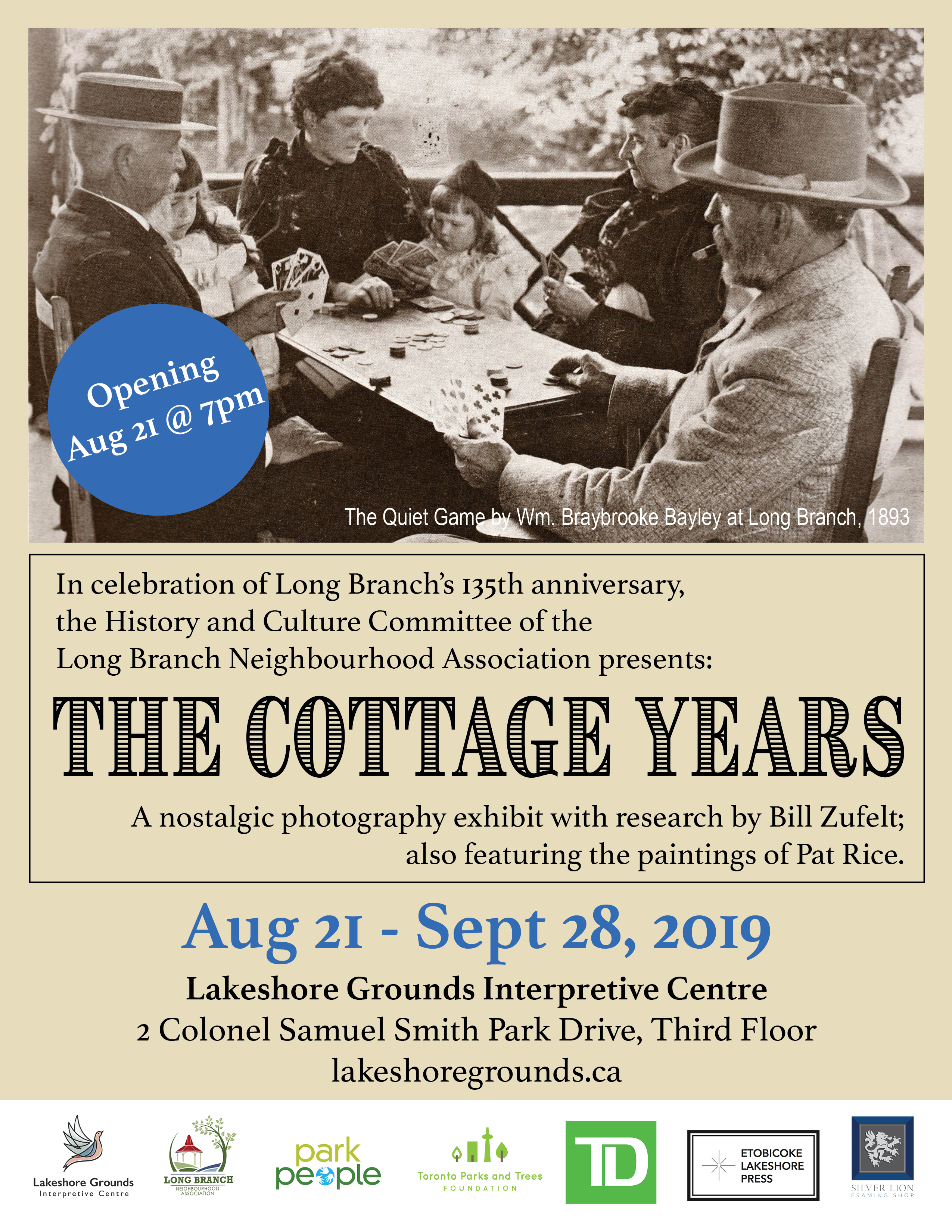 Poster for The Cottage Years exhibit of nostalgic photographs in celebration of Long Branch's 135th anniversary