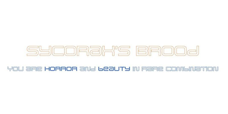"Stylized text-based logo for SYCORAX BROOD, including the tag line ""Horror and beauty in rare combination."""