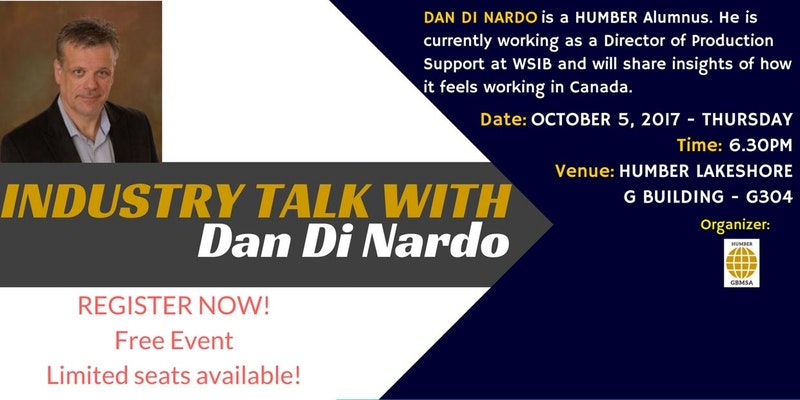 The Humber Global Business Management Student Association is organizing it's second Industry Talk. Our guest speaker in this edi