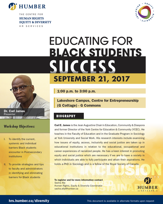 Educating for black students by Dr. Carl James