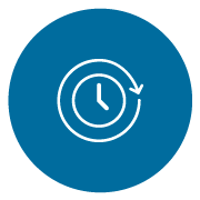 white line icon of a clock with an arrow going around it on a blue circle background