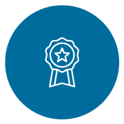 white line icon of a badge on a blue circle background